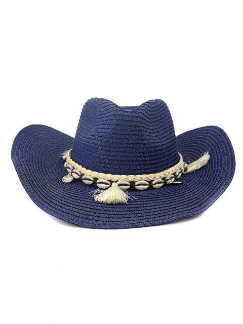 NZCM094 Outdoor Men Women Hat Seaside Beach Sun Cowboy Hat - طالبا الأزرق  Mobile