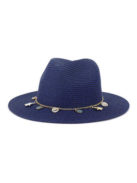Frauen Outdoor Naht Sonnencreme Strand Kopfbedeckung Stroh Sonnenhut Frühling Sommer Britischer Stil Jazz Kappe - Kadettenblau  Mobile