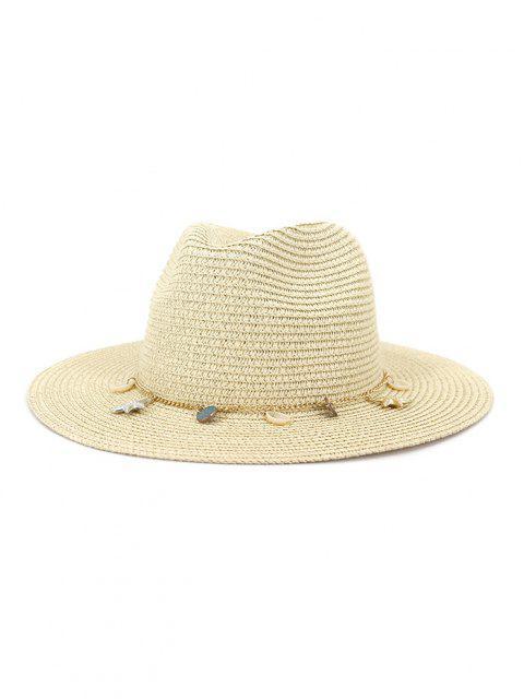Frauen Outdoor Naht Sonnencreme Strand Kopfbedeckung Stroh Sonnenhut Frühling Sommer Britischer Stil Jazz Kappe - Beige  Mobile
