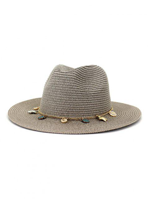 Frauen Outdoor Naht Sonnencreme Strand Kopfbedeckung Stroh Sonnenhut Frühling Sommer Britischer Stil Jazz Kappe - Grau  Mobile
