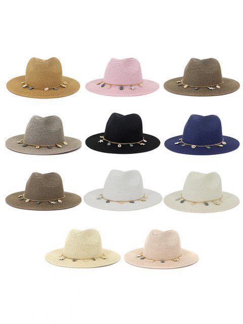 affordable Women Outdoor Seaside Sunscreen Beach Headgear Shade Straw Sun Hat Spring Summer British Style Jazz Cap - HOT PINK  Mobile