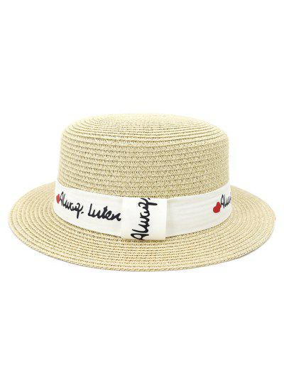 XPD001Holiday Beach Hat Straw Hat Men And Women Flat-topped Sun Hat - Beige