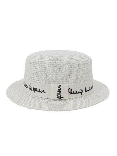XPD001Holiday Beach Hat Straw Hat Men And Women Flat-topped Sun Hat - White