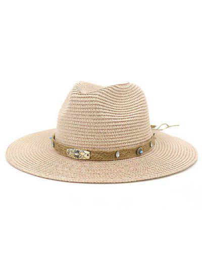 CMDJS237 Straw Hat Jazz Lady Outdoor Beach Sun Hat - Light Pink