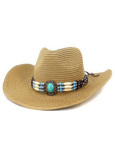 NZCM095 Outdoor Men Women Hat Seaside Beach Sun Cowboy Hat - Khaki