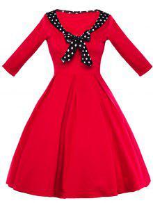 خمر البولكا نقطة بونوت السامي مخصر اللباس - أحمر L
