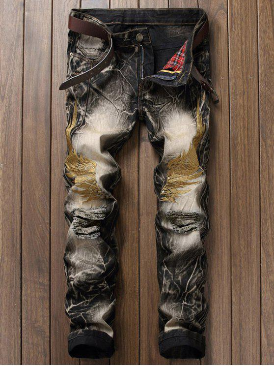 womens Vintage Wings Embroidery Ripped Jeans - BLACK 32