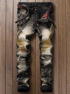 Vintage Wings Embroidery Ripped Jeans - Black 32
