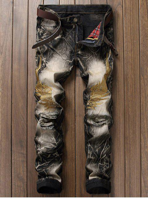 womens Vintage Wings Embroidery Ripped Jeans - BLACK 32 Mobile
