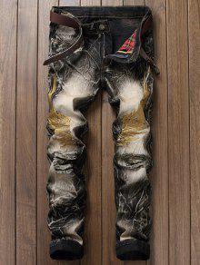 خمر أجنحة التطريز ممزق جينز - أسود 30