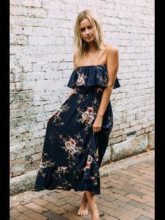 Impresión Floral Sin Tirantes Vestido De Tirantes - Azul Purpúreo Xl