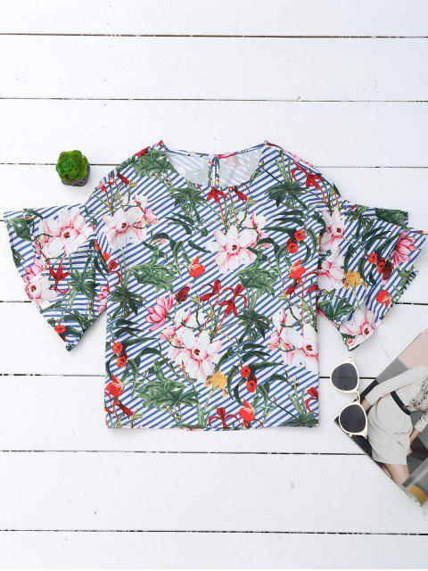 new Floral Ruffle Sleeve Top With Stripe - FLORAL L Mobile
