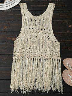 Crochet Fringed Tank Top - Palomino