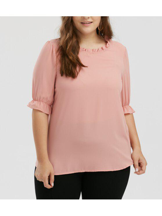 best Plus Size Chiffon Ruffle Top - PINK 3XL