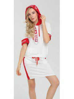 Drawstring Hooded Graphic T-Shirt Dress - White S
