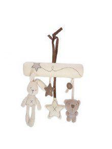 طفل رضيع الموسيقى أفخم النشاط سرير عربة لينة اللعب أرنب ستار الشكل - أبيض
