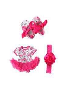لطيف روز زهرة الوليد الطفلات رومبير توتو اللباس بذلة ملابس ملابس مع أحذية عقال - وردة حمراء Xl