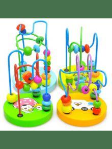 أطفال أطفال الطفل الملونة خشبية مصغرة الخرز لعبة تعليمية