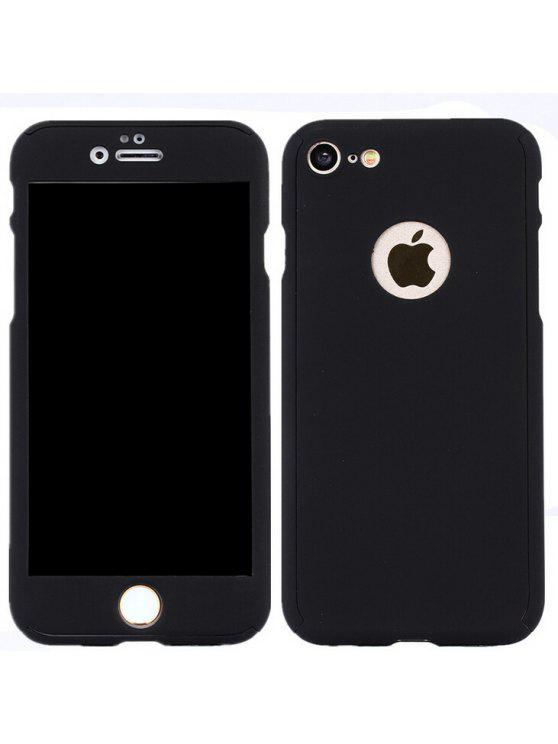 women Protective Case Full Body Cover with Tempered Glass Film for iPhone 7  - BLACK 3c128272f9
