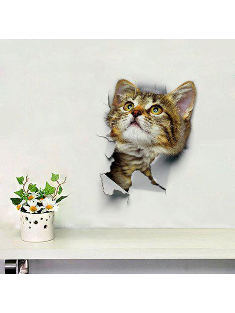 lady 3D Cat Animal Bathroom Bedroom Decor Wall Sticker - BROWN PATTERN A Mobile