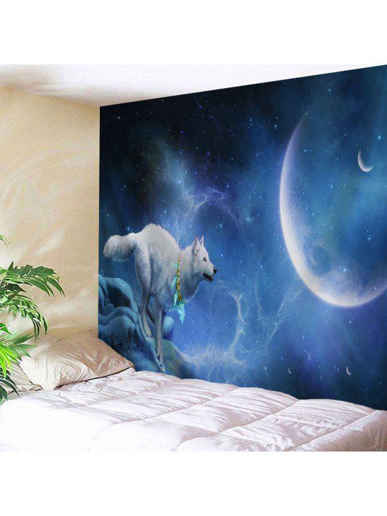الذئب ضوء القمر طباعة الجدار شنقا نسيج - الليل الأزرق W51 بوصة * L59 بوصة