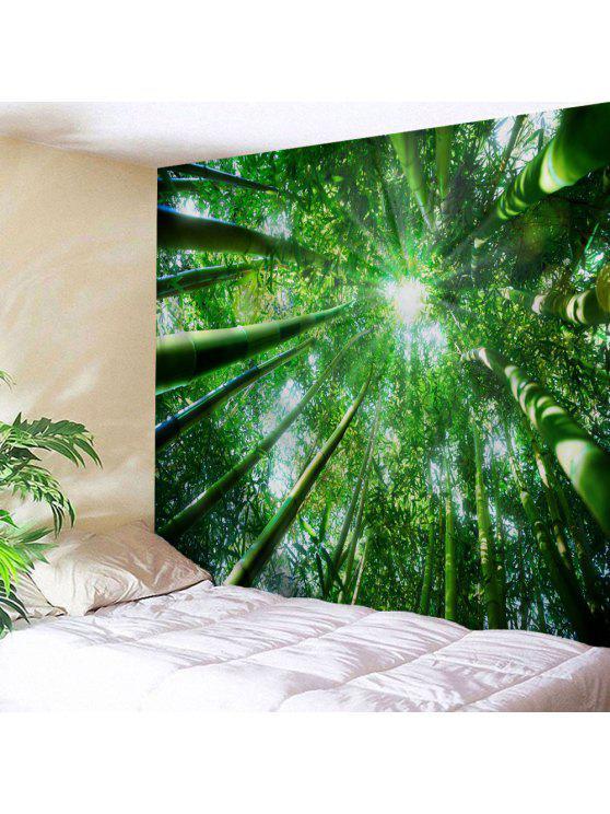 الخيزران الغابات طباعة الجدار شنقا نسيج - أخضر W71 بوصة * L91 بوصة