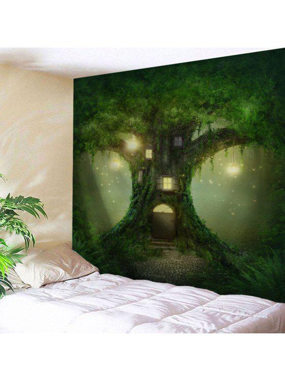 الجنية شجرة الجدار شنقا الديكورات المنزلية نسيج - أخضر W71 بوصة * L91 بوصة