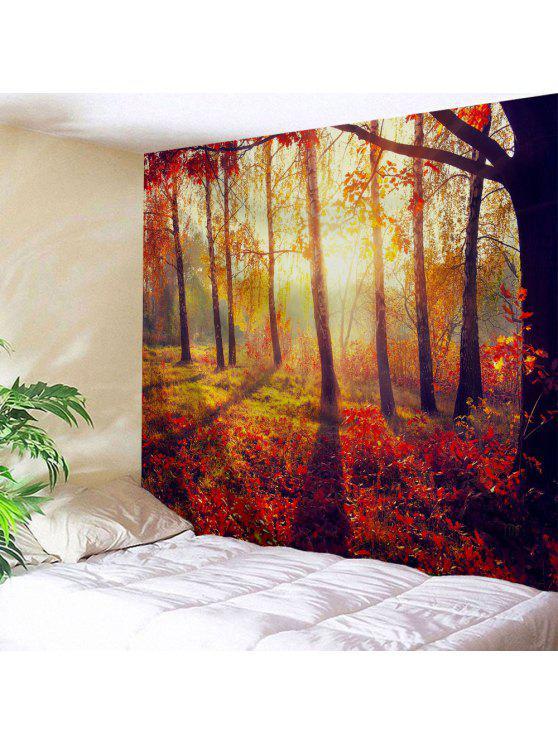 الخريف أشعة الشمس الغابات نسيج نسيج لغرفة النوم - أحمر برتقالي W71 بوصة * L91 بوصة