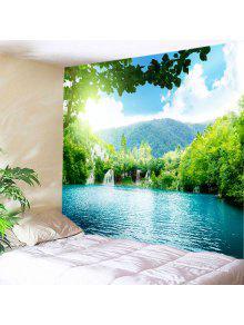 الجدار شنقا الفن موتين شلالات بحيرة طباعة نسيج - أخضر W91 بوصة * L71 بوصة
