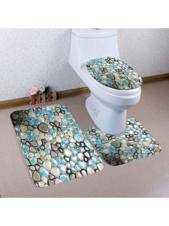 حصاة الحصى نمط 3 قطع المرحاض حصيرة حمام حصيرة - مزيج ملون