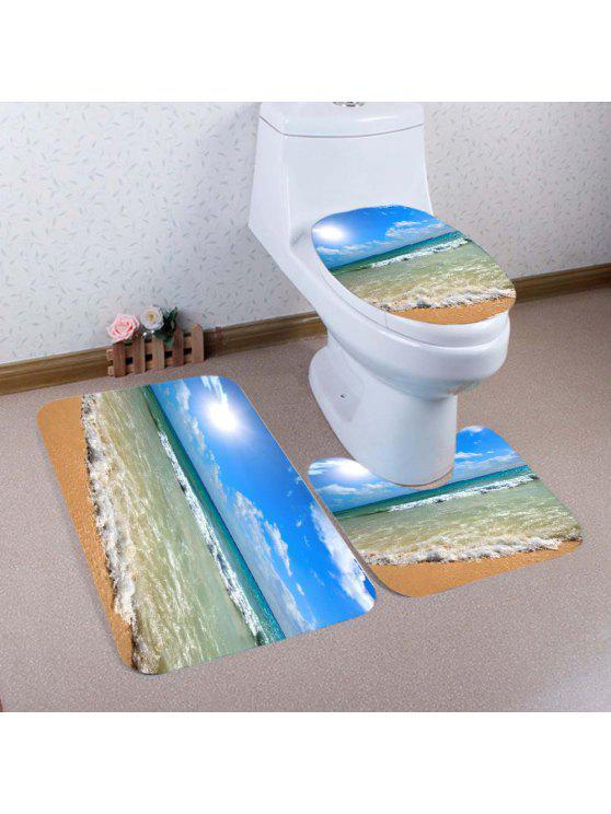 شاطئ موجات نمط 3 قطع المرحاض حصيرة حمام حصيرة - أزرق