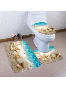 شاطئ محارة نجم البحر نمط 3 قطع المرحاض حصيرة حمام حصيرة - البحيرة الزرقاء