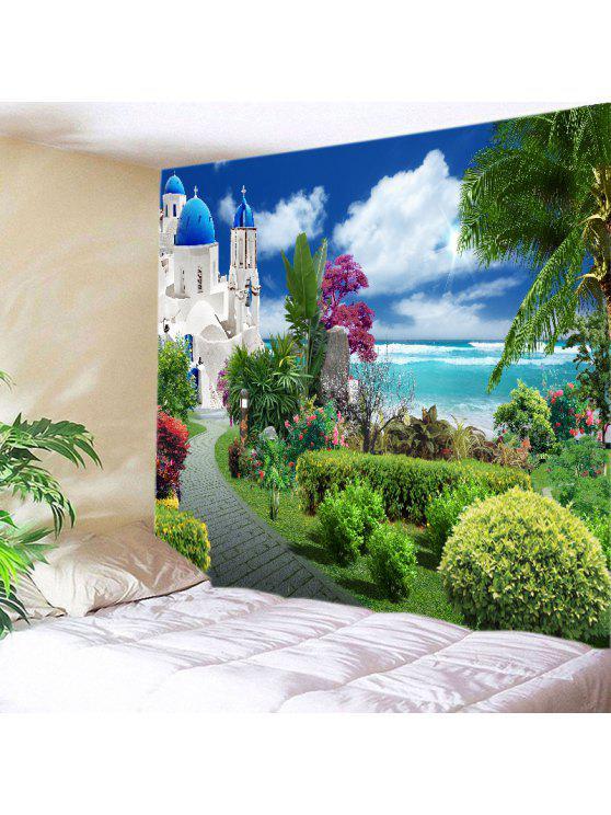 womens wall hanging art decor sea castle garden print tapestry green w91 inch l71