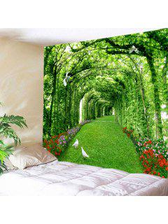 Wall Hanging Art Decor Tree Floral Path Print Tapestry - Green W59 Inch * L51 Inch