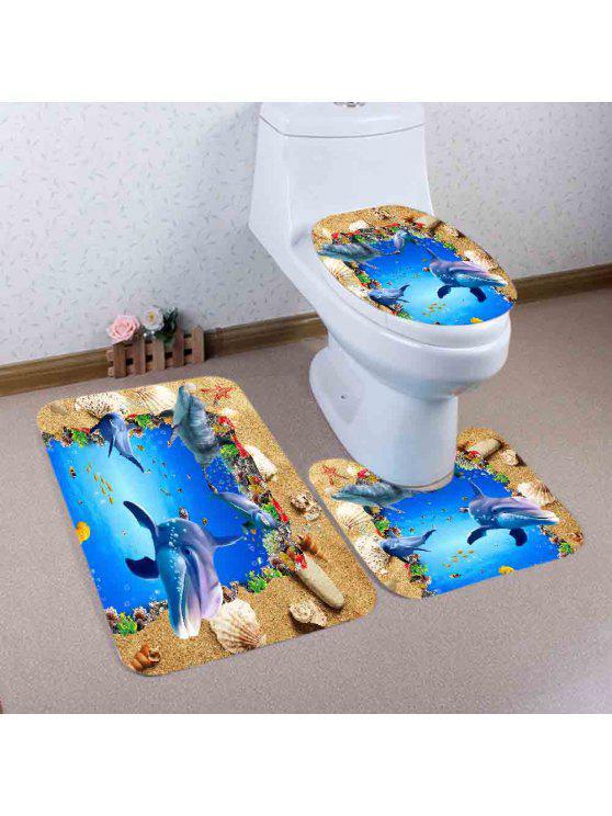 شاطئ المحيط دولفين نمط 3 قطع المرحاض حصيرة حمام حصيرة - أزرق