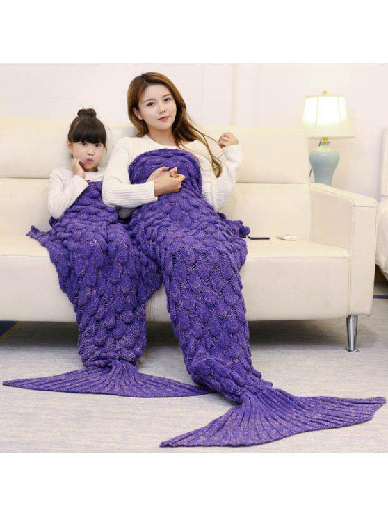 الأسماك مقياس كروشيه الأم والطفل حورية البحر بطانية - أرجواني 180*145CM