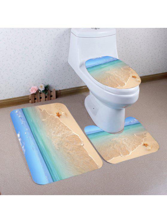 شاطئ نجم نمط 3 قطع المرحاض حصيرة حمام حصيرة - مزيج ملون
