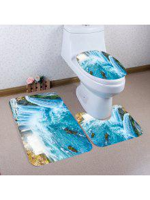 3 قطع شلال المطبوعة عدم الانزلاق الحمام المرحاض ماتس مجموعة - البحيرة الزرقاء