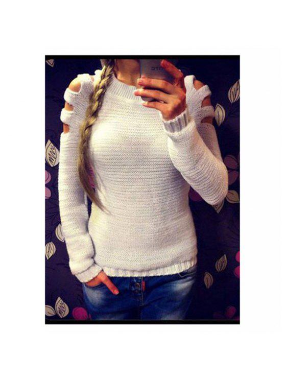 buy Crew Neck Cut Out Pullover Sweater - WHITE L