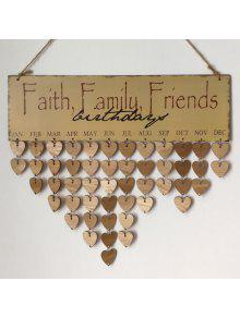 جدول الخشب طباعة ب Family And Friends Birthdays - رمادي