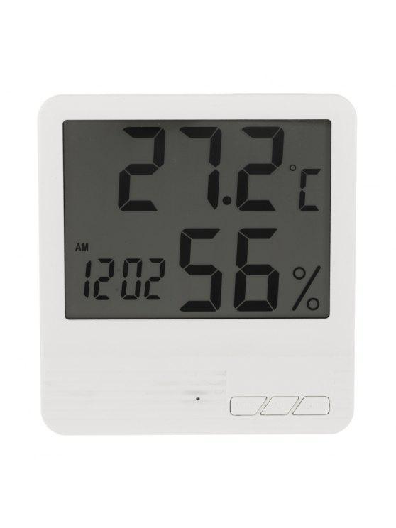 Thermomètre Indicateur d'Humidité Horloge Electronique Numérique Intérieur LCD - Blanc