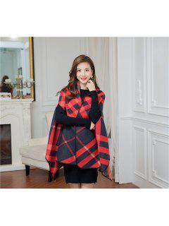 Outdoor Artificial Wool Shawl Pashmina - Black Red