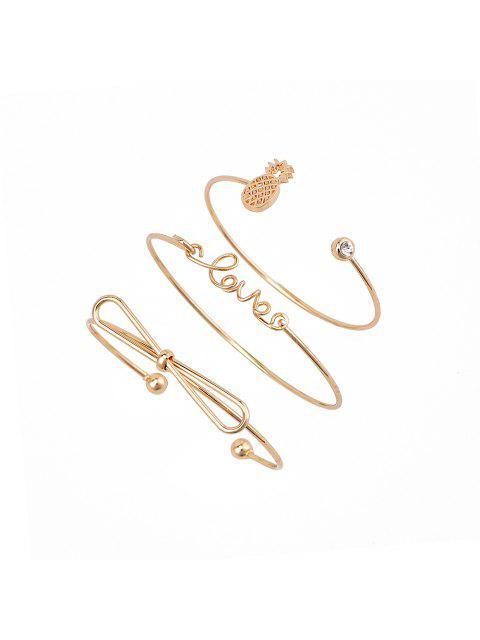 women 3pcs Braclet Set Stainless Steel Crystal Braclet Star Moon Love Wedding Cuff Bangle Bracelet - GOLD  Mobile