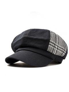 Solid Octagonal Beret Hat Casual Dome Hat - Black