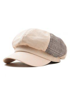 Solid Octagonal Beret Hat Casual Dome Hat - Beige
