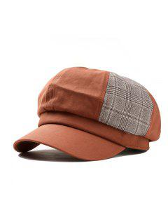 Solid Octagonal Beret Hat Casual Dome Hat - Dark Khaki
