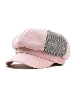Solid Octagonal Beret Hat Casual Dome Hat - Pink