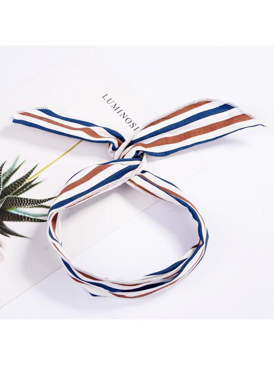 hot Fashion Plaid Knot Headband Turban Elastic Hairband Head Wrap Hair Accessories for Women Girls Striped Headwear Accessories - WHITE