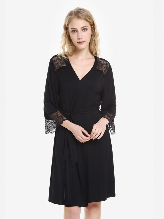 women ZAN.STYLE Front Open Nightgown Belt Sleepwear - BLACK L