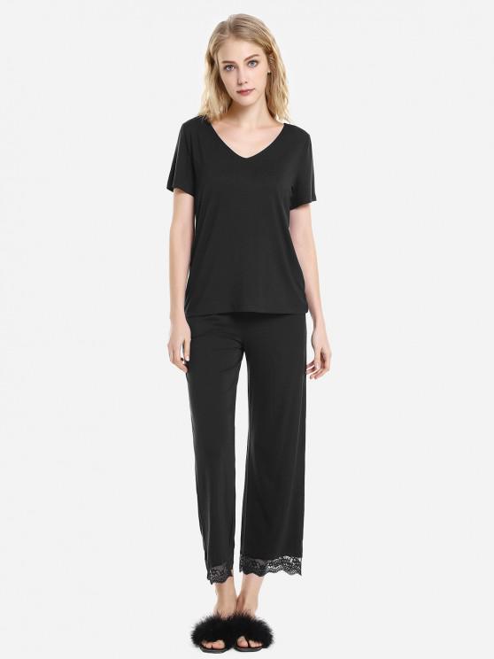 outfit ZAN.STYLE V Neck Sleepwear Short Sleeve Pajama Set - BLACK XL